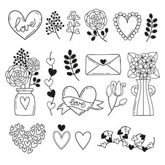 Conjunto de elementos românticos em estilo doodle.