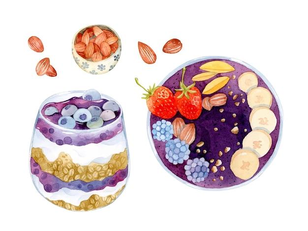 Conjunto de elementos saudáveis de parfait de açaí para café da manhã