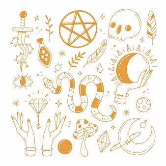 Conjunto de elementos sobre o tema da astrologia esoterismo mágico em cores douradas em estilo doodle