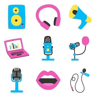 Conjunto de elementos sobre o tema de gravações de som e podcasts