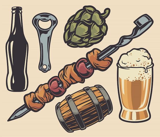 Conjunto de elementos sobre o tema de kebab e cerveja