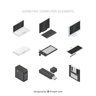 Conjunto de elementos tecnológicos com vista isométrica