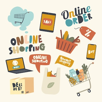 Conjunto de elementos tema de compras online