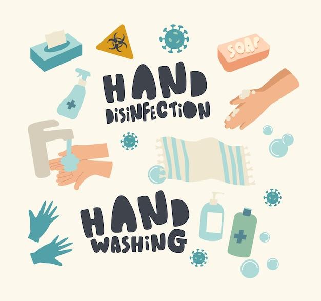 Conjunto de elementos tema de desinfecção de mãos