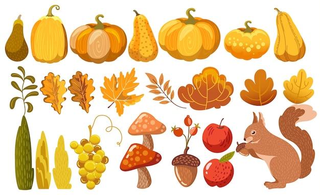 Conjunto de elementos temáticos de outono