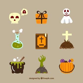 Conjunto de elementos típicos de halloween