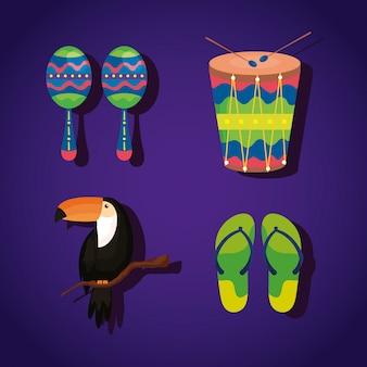 Conjunto de elementos tradicionais do brasil