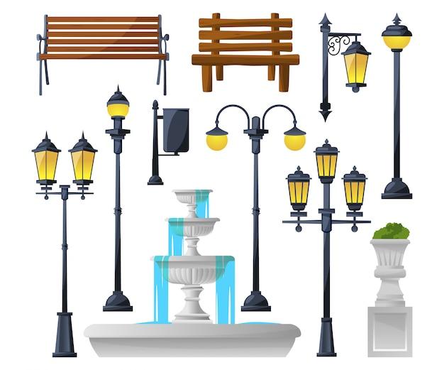 Conjunto de elementos urbanos. lâmpadas de rua, fonte, bancos de parque e lixeiras.