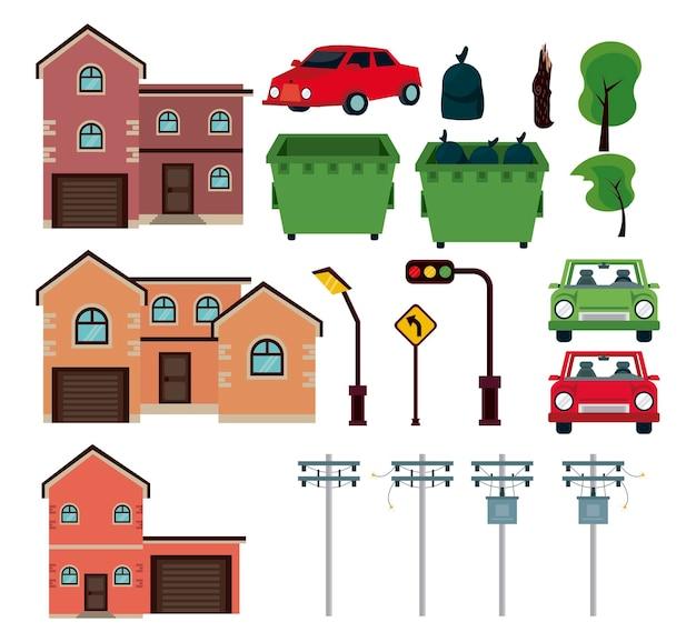 Conjunto de elementos urbanos