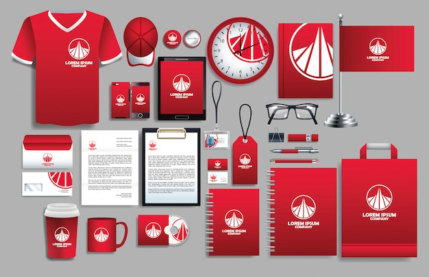Conjunto de elementos vermelhos com modelos de papelaria