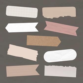 Conjunto de elementos vetoriais de fita washi digital, pacotes de adesivos digitais rosa