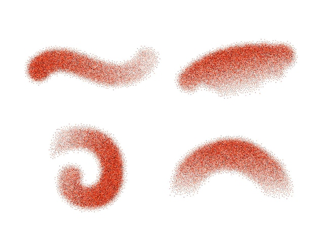 Conjunto de elementos vetoriais de pimenta vermelha moída