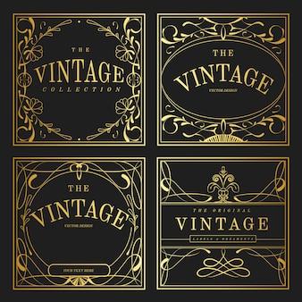 Conjunto de elementos vintage art nouveau dourado
