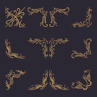 Conjunto de elementos vintage canto dourado, borda, moldura e ornamento isolado em um fundo preto.
