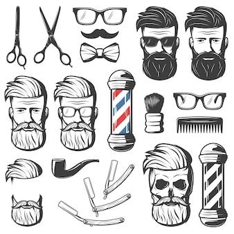 Conjunto de elementos vintage de barbeiro