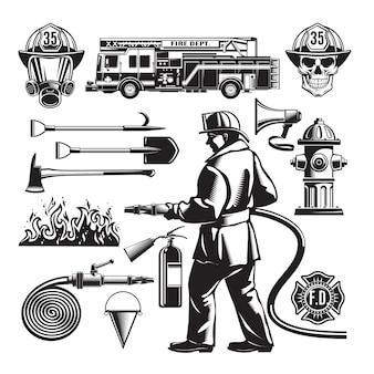 Conjunto de elementos vintage de combate a incêndios