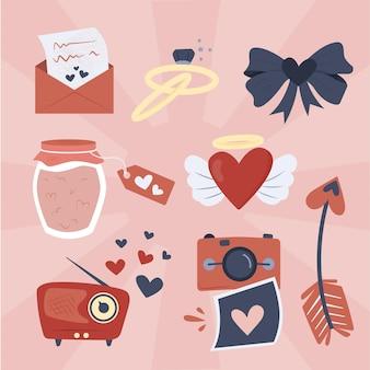 Conjunto de elementos vintage do dia dos namorados