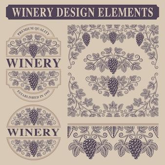 Conjunto de elementos vintage para adega com ramos de uva, bordas e modelo de rótulo de vinho.
