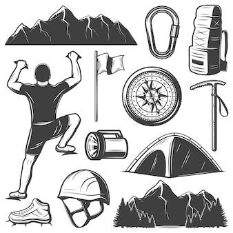 Conjunto de elementos vintage para escalada de montanha