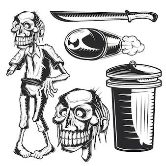 Conjunto de elementos zumbis para criar seus próprios emblemas, logotipos, etiquetas, pôsteres etc.
