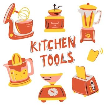 Conjunto de eletrodomésticos de cozinha desenhado à mão ilustração vetorial item de equipamento para cozinhar
