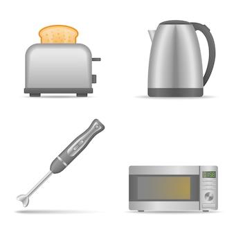 Conjunto de eletrodomésticos de cozinha isolado. liquidificador, chaleira, torradeira, ilustração de forno de microondas.