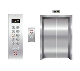 Conjunto de elevador com portas fechadas e painel de botões