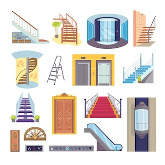 Conjunto de elevador e escada