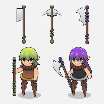 Conjunto de elfo de madeira monstro parado em uma mão segurando uma ilustração de armas diferentes