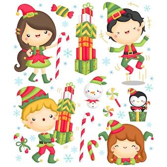 Conjunto de elfos fofos para crianças