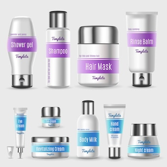 Conjunto de embalagem cosmética profissional realista