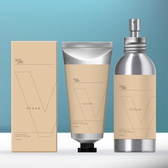 Conjunto de embalagem de alumínio de beleza com frasco de spray de aerossol com tampa de rosca, tubo de prata metálico e caixa de papelão.