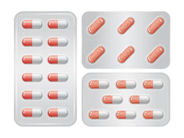 Conjunto de embalagem de comprimidos grupo de farmacêuticos vermelhos realistas