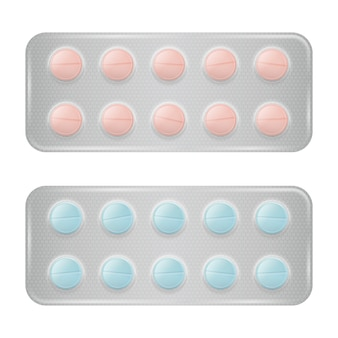 Conjunto de embalagem de comprimidos grupo realista de medicamentos