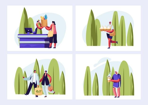 Conjunto de embalagem ecológica. pessoas que visitam a loja ao ar livre. ilustração plana dos desenhos animados