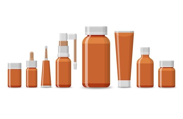Conjunto de embalagem em branco para produtos médicos isolados em um fundo branco. comprimidos realistas empolam com comprimidos e cápsulas. tubos de plástico para medicamentos de farmácia