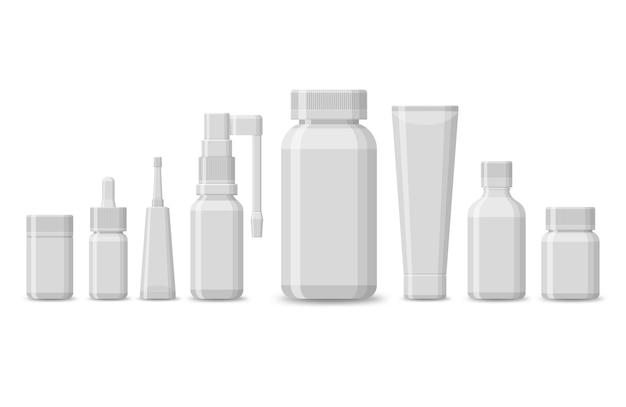 Conjunto de embalagem em branco para produtos médicos isolados em um fundo branco. pílulas realistas empolam com comprimidos e cápsulas. tubos de plástico para medicamentos de farmácia. .