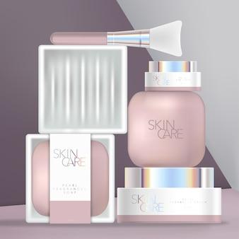 Conjunto de embalagem holográfica para beleza ou banho com sabonete, prato de cerâmica, espátula e frascos com tampa de rosca