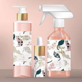 Conjunto de embalagem para cuidados com a pele ou beleza com frasco com bomba para lavagem corporal, gotícula de soro e frasco com spray de aroma.