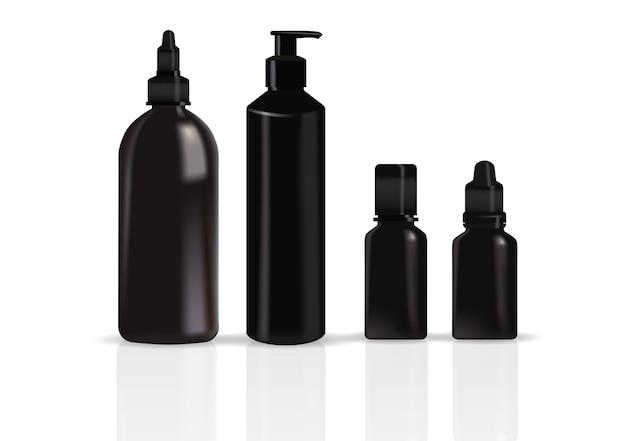 Conjunto de embalagem preta realista para creme de tubo de produto cosmético de luxo, frasco com dispensador de bomba