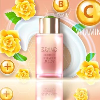 Conjunto de embalagem realista para produtos cosméticos de luxo.