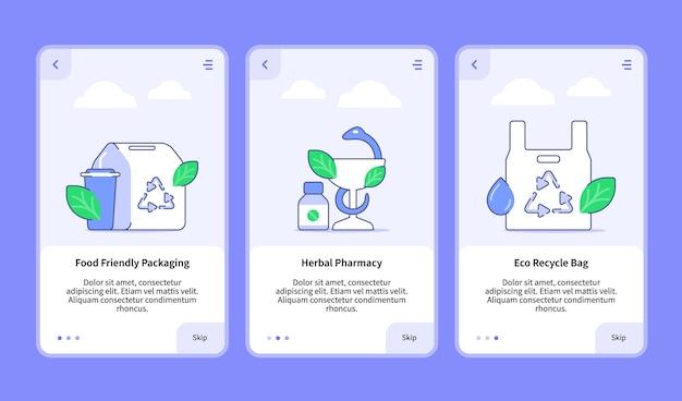 Conjunto de embalagens amigáveis para alimentos para modelo de aplicativo móvel