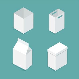 Conjunto de embalagens brancas e caixas em estilo isométrico isolado