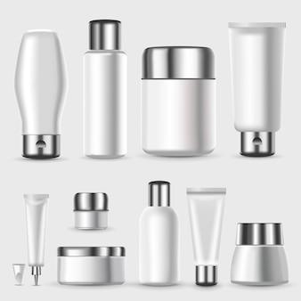 Conjunto de embalagens cosméticas em branco realista