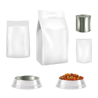 Conjunto de embalagens de alimentos para cães