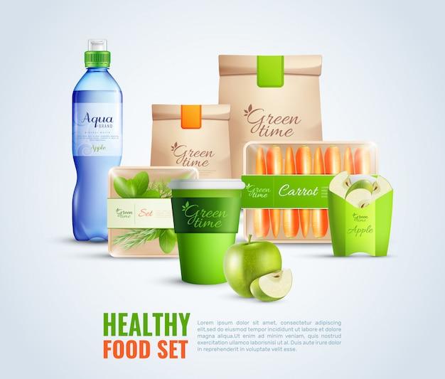 Conjunto de embalagens de alimentos saudáveis