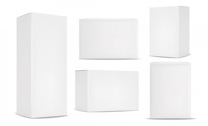 Conjunto de embalagens de caixa branca, realista isolado