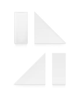 Conjunto de embalagens de caixas de papelão em branco