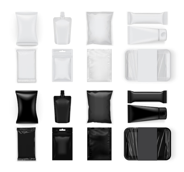 Conjunto de embalagens de comida branca e preta isoladas