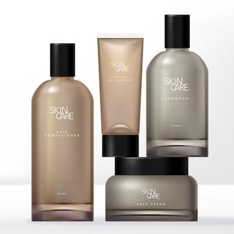 Conjunto de embalagens de cuidados com a pele mínimos naturais ou orgânicos com garrafa, frasco e tubo de boston clear brown matizado.